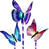 Adecorty Butterfly Solar Lights Outdoor - 3 Pack Patio Solar Lights Color-Changing Solar Garden Lights Solar Powered Fiber Optic Butterfly Decorative Stake Lights for Path Yard Lawn Ground Landscape
