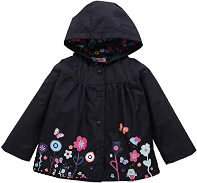 Kids Baby Girls Coat Winter Clothes Children Long Sleeve Floral Print Button Down Hooded Casual Coat Jacket Raincoat Outwear