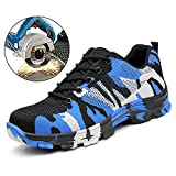 TRUPO Mens Work Safety Shoes Construction Industrial Steel Toe Puncture Proof Footwear Camouflage Blue 41
