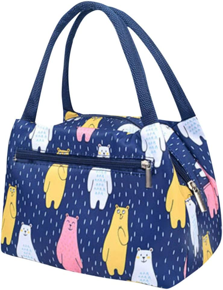 Lunch Box for Women Insulated Lunch Bag Tote for Girls, Ladies, Teens Cute Lunch Carrier Purse Cooler for School, Work, Office Cartoon Printed Lunch Bag (D)