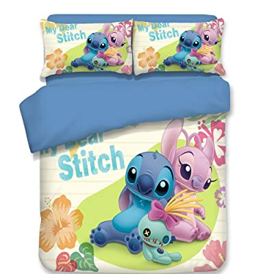 ZI TENG 3D Cartoon Lilo & Stitch Duvet Cover Children Lilo & Stitch TV Bedding Set Kids Boys Girs and Teenagers Bed Set 3PC 1 Duvet Cover,2Pillowcases,Twin Full Queen King Size: Home & Kitchen