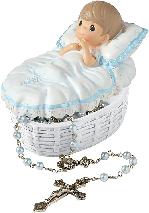 Precious Moments 153407 Baptism Gift Baptized in His Name Resin Box with Rosary for Boy