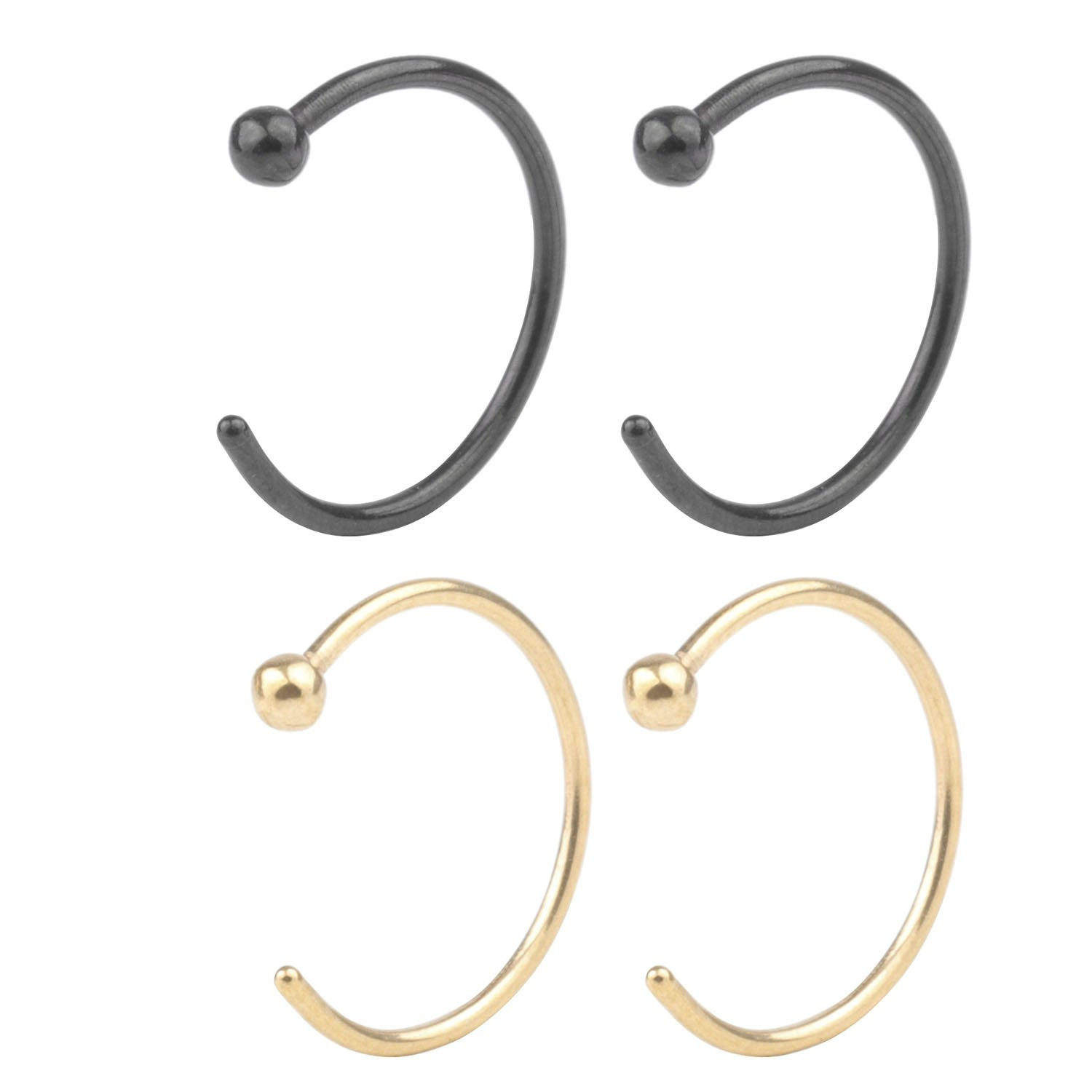 CM's 4 Pcs 20G 10mm Stainless Steel Hoop Nose Ring Studs Body Jewelry Piercing &5