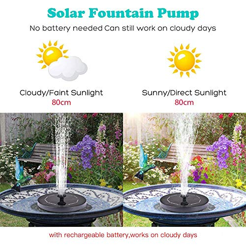 VXDAS Upgraded Solar Fountain Pump, 1.4W Solar Powered Floating Bird Bath Water Panel Fountain Pump for Garden Pond Pool Outdoor