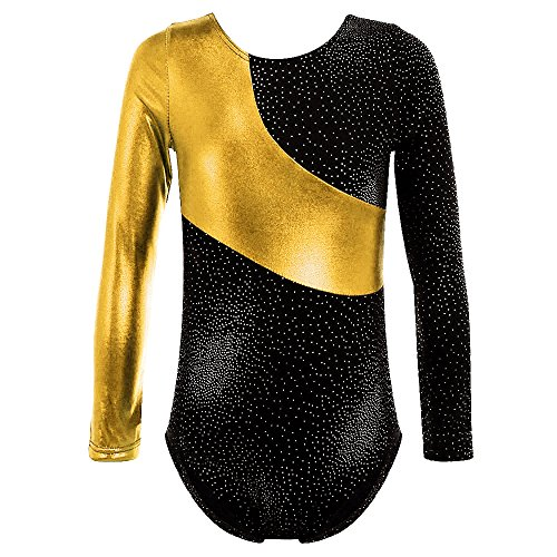 TFJH E Shiny Dots Girls Leotard for Dance Gymnastics Athletic Spliced Clothes One-Piece,140 Gold 130
