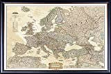 FRAMED National Geographic Political Europe Map 24x30 Dry Mounted in Executive Series Black Wood Frame With Gold Lip - Crafted in USA