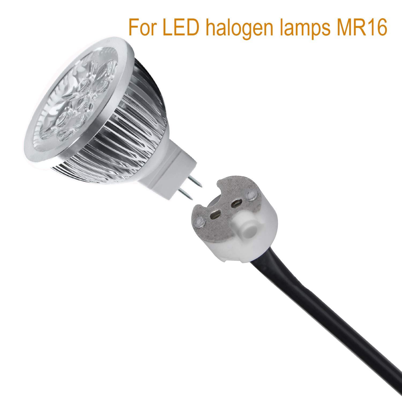 Soporte para lámparas halógenas, LED o CFL de bajo voltaje, de 12 V, con tomacorriente de cerámica, para enchufes GU5.3/MR16/MR11/G4, cerámica, ...