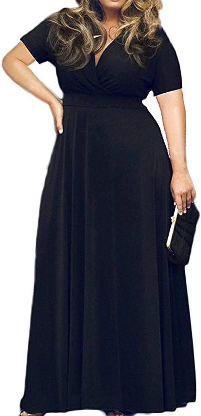 Yuwegr Damen Kleider Ballkleid Partykleid Abendkleid V-Ausschnitt