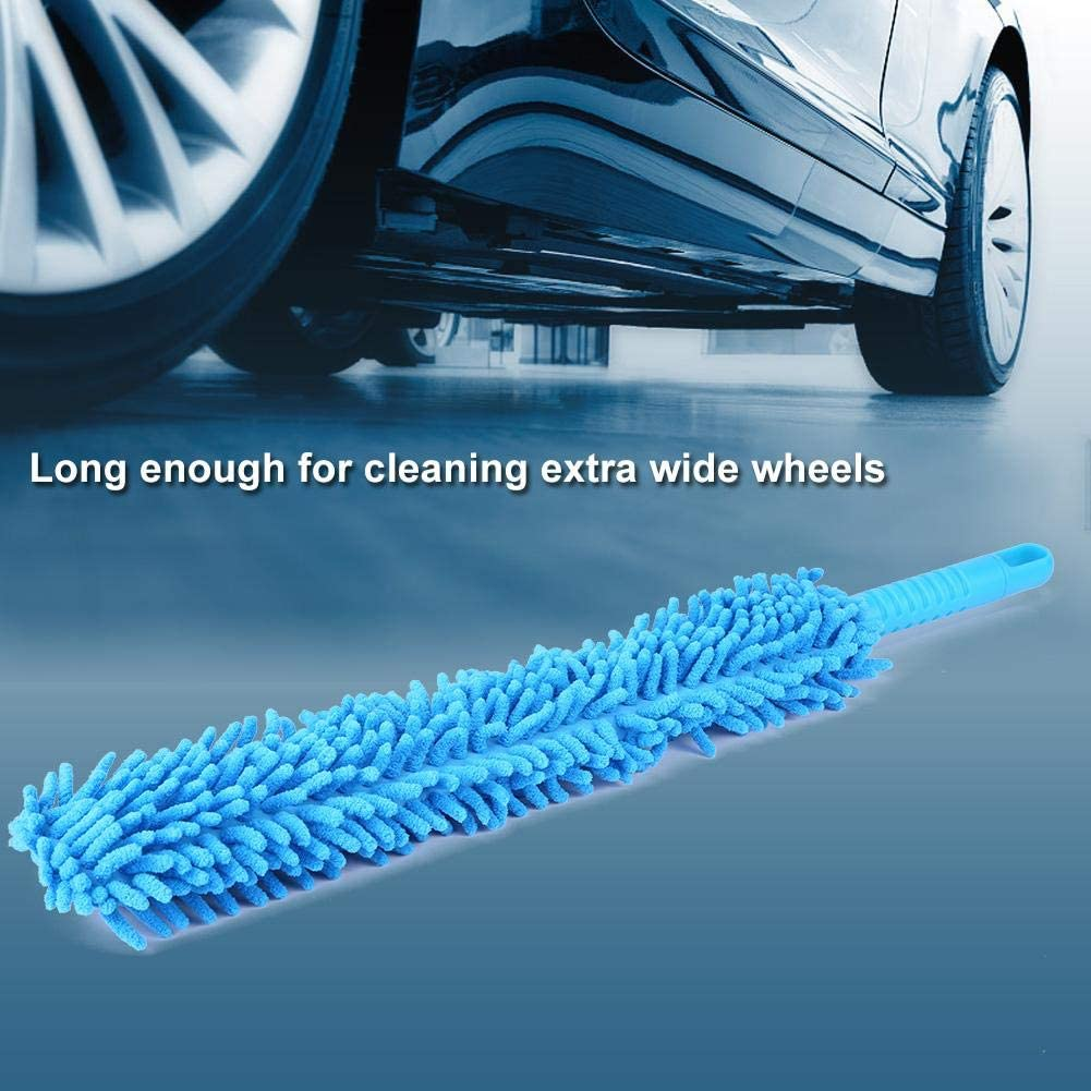 Long Soft Flexible Microfiber Cleaning Brush Car Wash Tool Wheel Cleaner Tire Rim Scrub Brush Wheel Brush