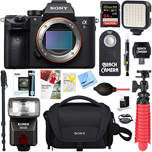 Sony a7R III 42.4MP Full-frame Mirrorless Interchangeable Lens Camera Body + 64GB Memory & Flash a7RIII Accessory Bundle (64GB Memory & Flash Kit)