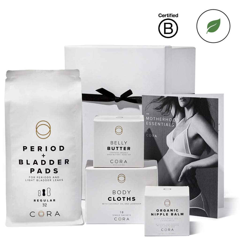 Cora Maternity Gift Box Set (Organic Nipple Balm, Belly Butter, Bamboo Feminine Wipes and Ultra-Thin Hybrid Pads for Periods, Incontinence & Postpartum Care, Reusable Gift Box & Product Guide)