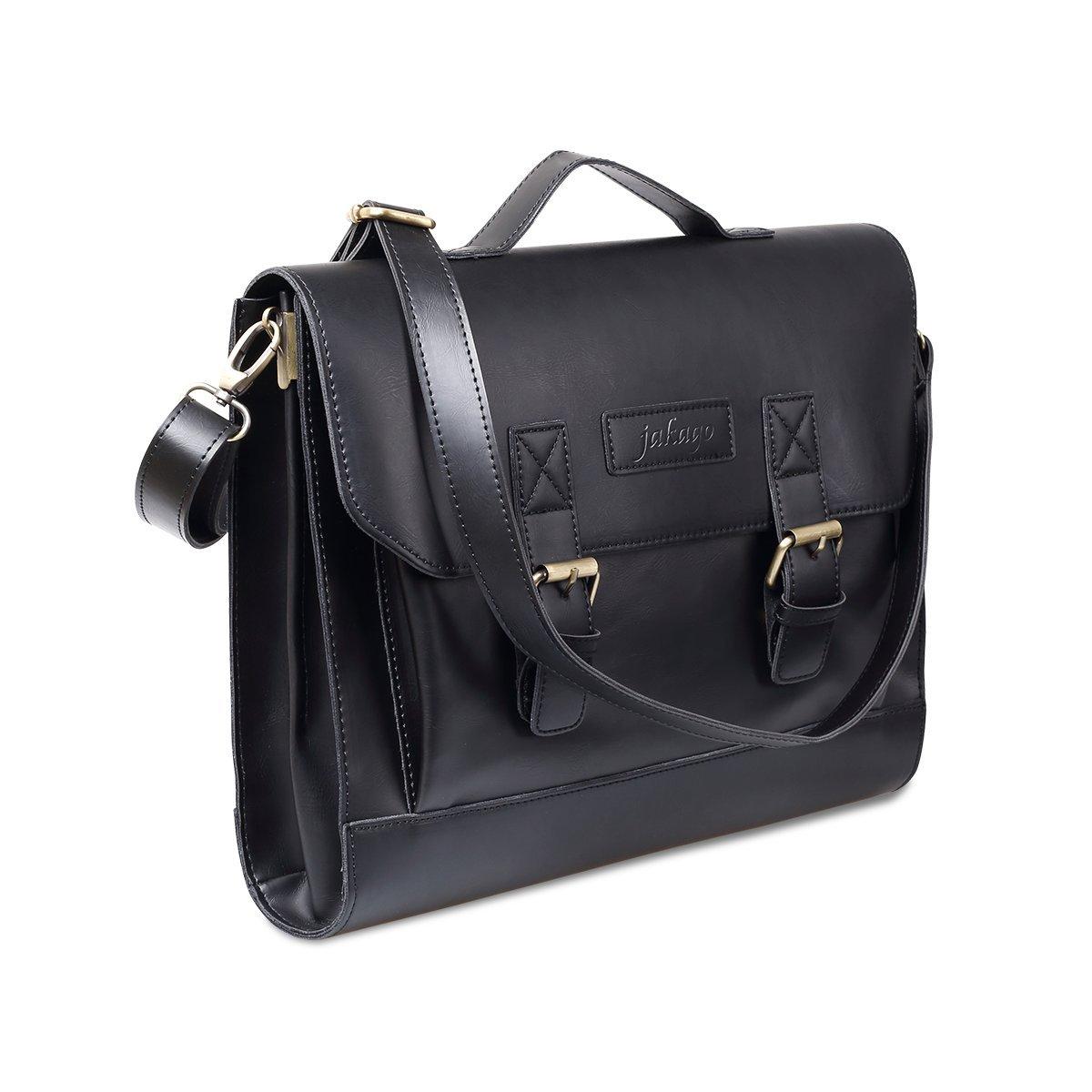 JAKAGO 14.6 Inch Vintage PU Leather Briefcase Laptop Shoulder Messenger Bag Tote School Distressed Bag for Women and Men