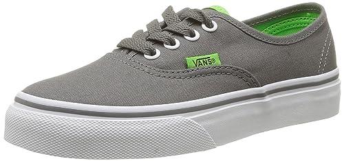 Vans Authentic, Zapatillas De Lona Infantil, Gris (Charcoal Grey/Green Flash)