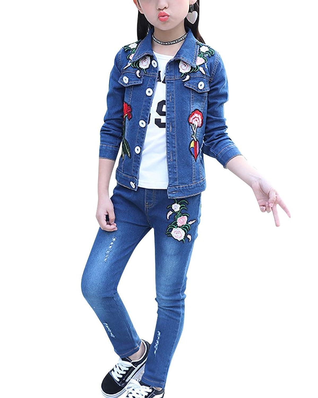 Ensemble Vêtements de Enfant Fille Veste en Jean + Jeans Pantalon Casual pour Printemps Automne