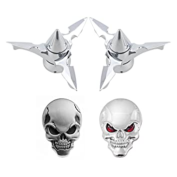 2X Black Front Axle Spun Blade Spinning Axle Caps Nut Cover 2pcs 3D Skull Sticker Emblems Compatible with Harley Dyna Touring XL XG Red Eyes + Black Eyes