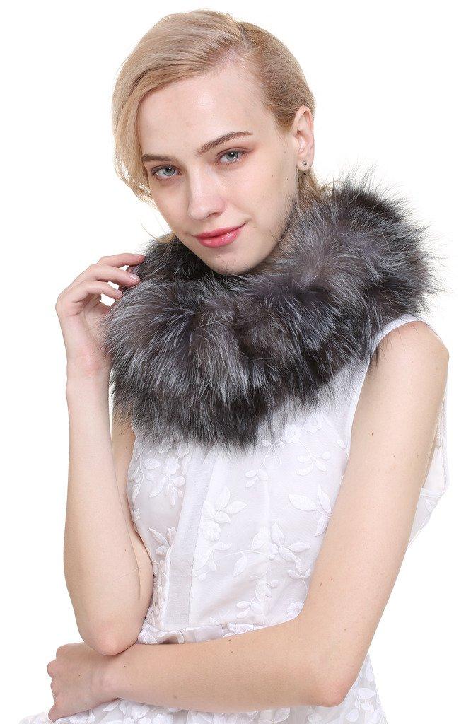 Vogueearth Women'Real Fox Fur Winter Neck Warmer Scarf Silver Fox A80162AH-Silve Fox