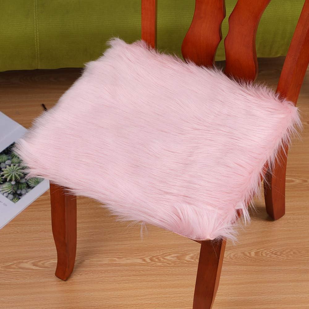 NIBESSER Sitzkissen Stuhlkissen Faux Lammfell Schaffell Sitzauflage Longhair Fell Optik Nachahmung Wolle Sofa Matte