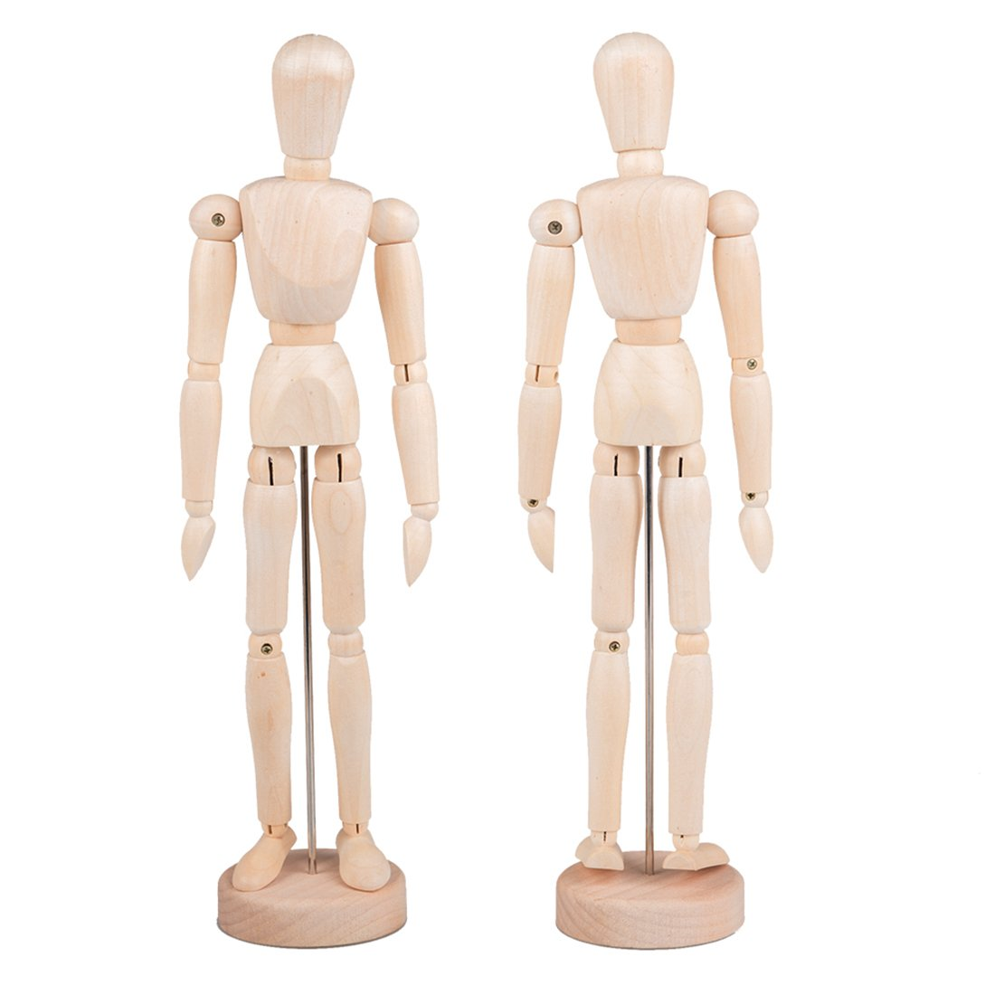Tosnail 12 Inches Tall Wooden Mannequin Artist Manikin with Stand - Great for Drawing or Desktop Decor - Pack of 2 by Tosnail