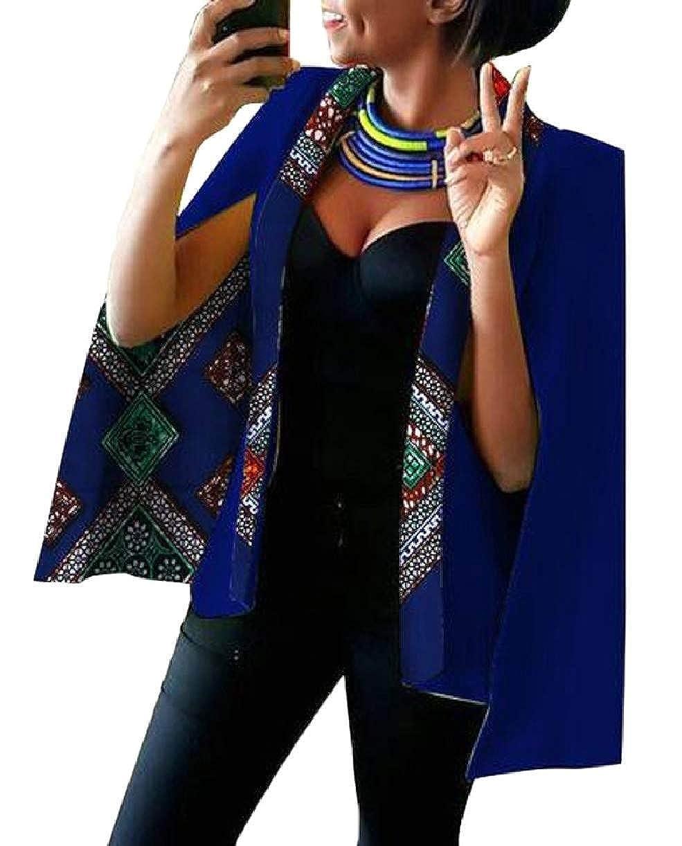 2 KLJR Women Cape Dashiki Split Open Front Plus Size African Printed Blazer