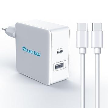 Quntis PD Cargador Rápido QC 3.0 Adapdador Inteligente USB C y USB B + [Cable USB ca USB c 2m] Power Delivery Enchufe EU para Pro Google Pixel 2 ...