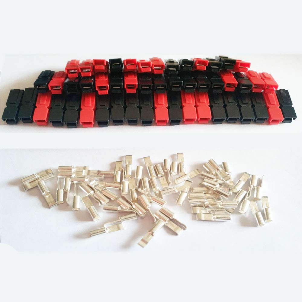30A Battery Connectors Contacts Modular Connectors Powerpole for Anderson Powerpole 30 AMP 30 A,30 Pcs Black+30 Pcs Red +60 Pcs Contacts