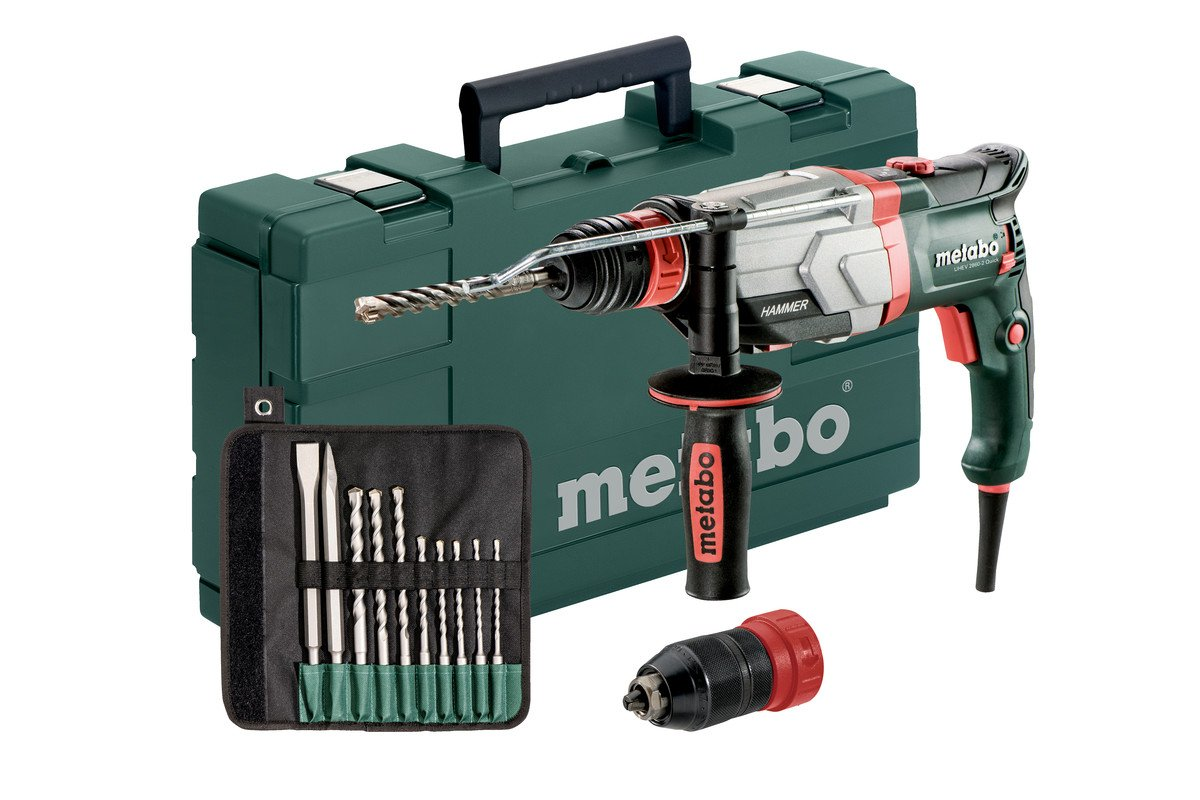 Metabo UHEV 2860-2 Quick Set SDS-Plus Combihamer incl. 10 delig boor- en beitelset in koffer - 1100W - 3.4J: Amazon.es: Bricolaje y herramientas