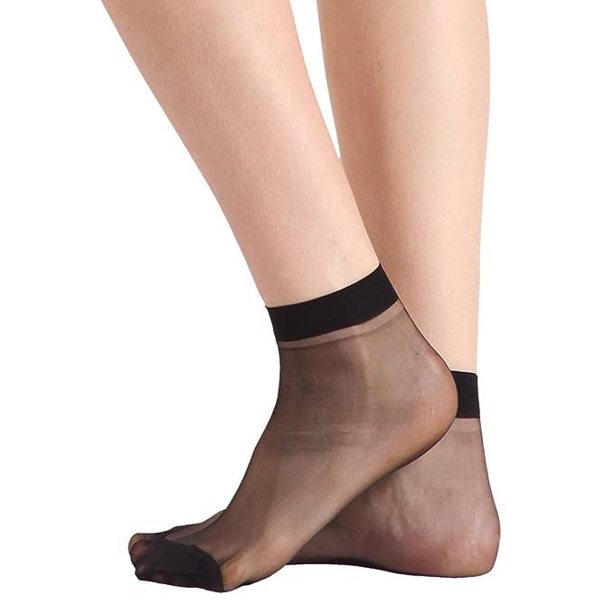 a1b3945cf Black10 Pairs Women s Nylon Ankle High Sheer Socks Lucky Commercer Low Cut  Dress Socks at Amazon Women s Clothing store