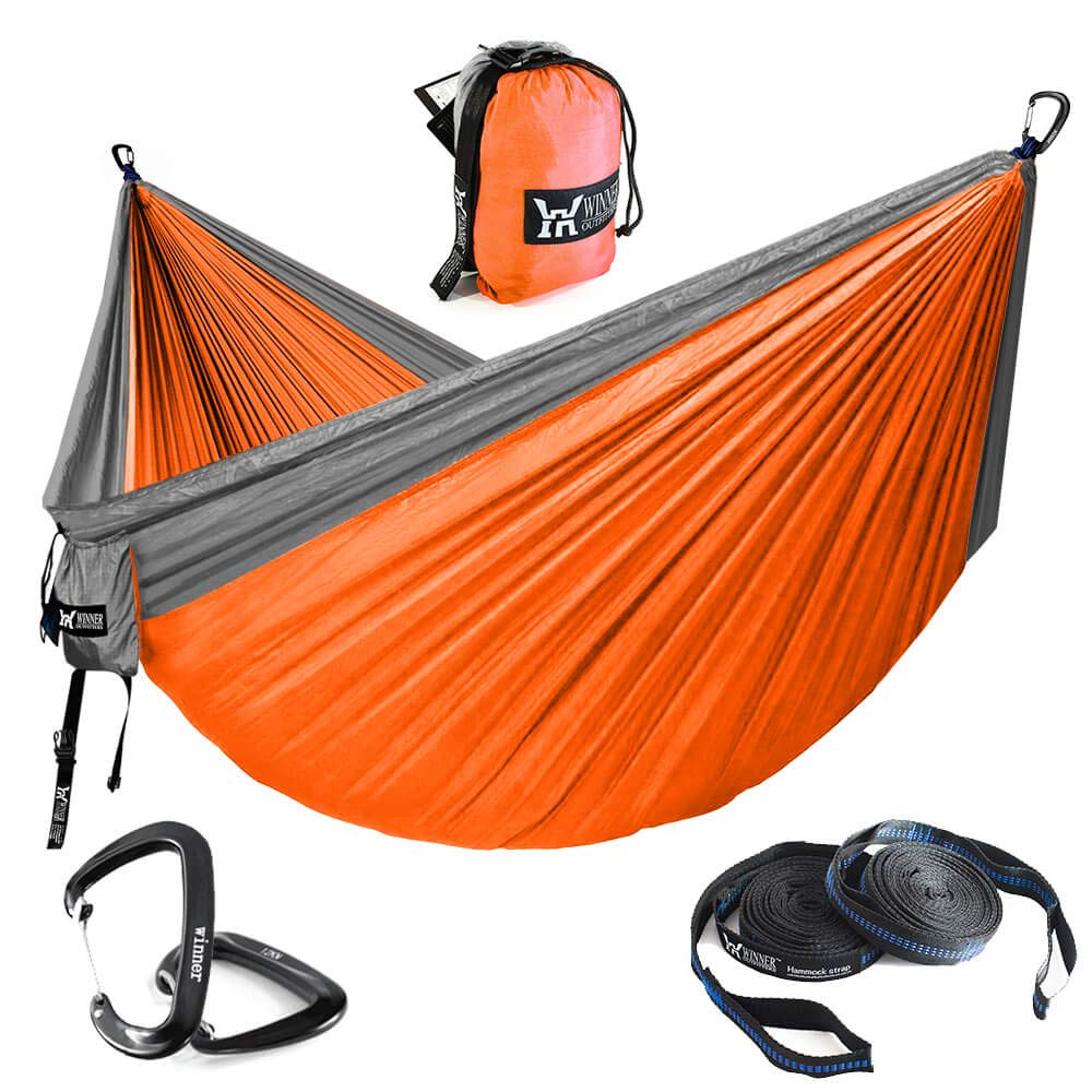 WINNER OUTFITTERS Double Camping Hammock – Lightweight Nylon Portable Hammock, Parachute Double Hammock for Backpacking, Camping, Travel, Beach, Yard. Do Orange Grey, 78 W x 118 L
