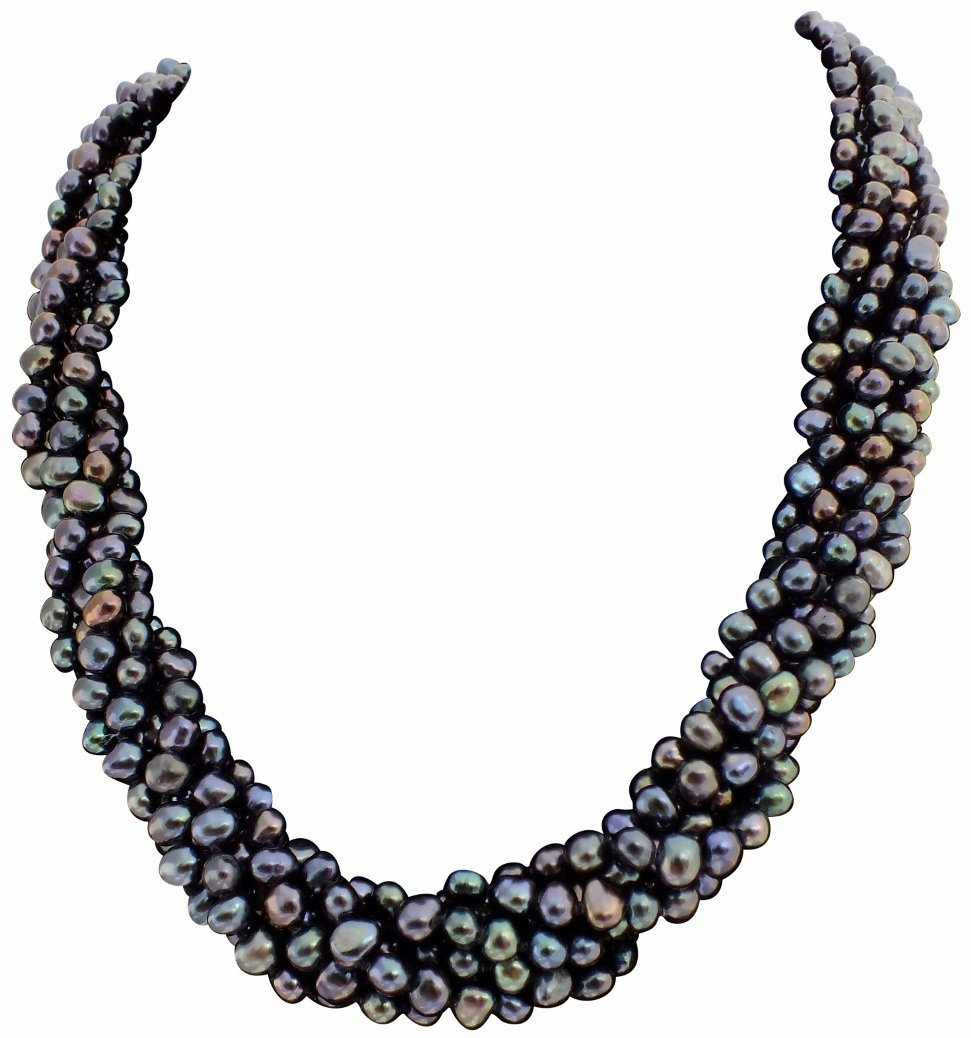 Black/Peacock Baroque Cultured Pearl Six Strand Chunky Necklace With A Sliding Silver (925) Clasp