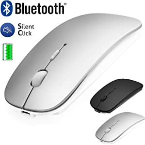 Bluetooth Mouse for Laptop/iPad/iPhone/Mac(iOS13.1.2 and Above) / Android PC, Wireless Mouse Slim USB Rechargable Quiet Mice for Windows/Linux/Notebook/Mac/MacBook Air, Bluetooth4.0 Silver