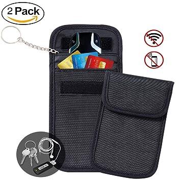 Hotchy 2 x RFID Anti Bolsa de protección radiológica Entrada sin Llave Fob antirrobo Faraday Bag Llave de Bolsillo para Coches con Bloqueador de señal ...