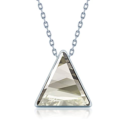 1ebfa3273 Image Unavailable. Image not available for. Color: Ed Heart Pendant Necklace  with Grey Silver Shade Triangle Crystals from Swarovski Silver Toned Rhodium  ...