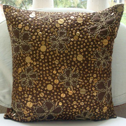"""Luxury Brown Pillow Cases, Metal Sequins Pillows Cover, 16""""x"""