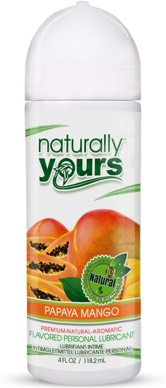 Naturally Yours - Papaya Mango Flavored, Natural Personal Lubricant 4 oz for Couples, Women & Men