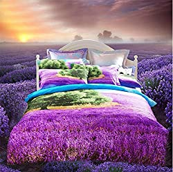 Joybuy 3d Flower Print Oil Painting Bedding Set Spring Romantic Rustic Duvet Cover Queen King Comforter Set Cotton Twill Bed Sheets 4pcs Comforter Not Included (Flower-1)