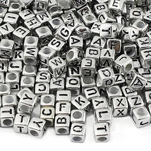 300pcs 6mm Vintage Sliver Mixed Letter Alphabet Cube Acrylic Beads for Jewelry Making