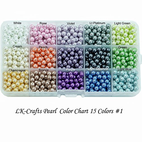 LK-CRAFTS Wholesale Luster Crystal Round Pearl Lot 510 pcs Beads with storage box, 15 colors, Size 8mm (#1). ()