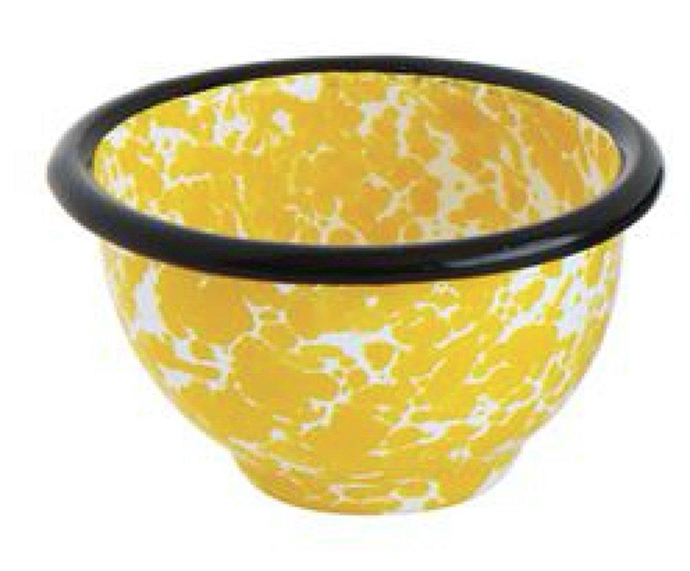 Yellow Splatterware Pinch Pot Design 3 x 3 Enameled Metal Decorative Dish