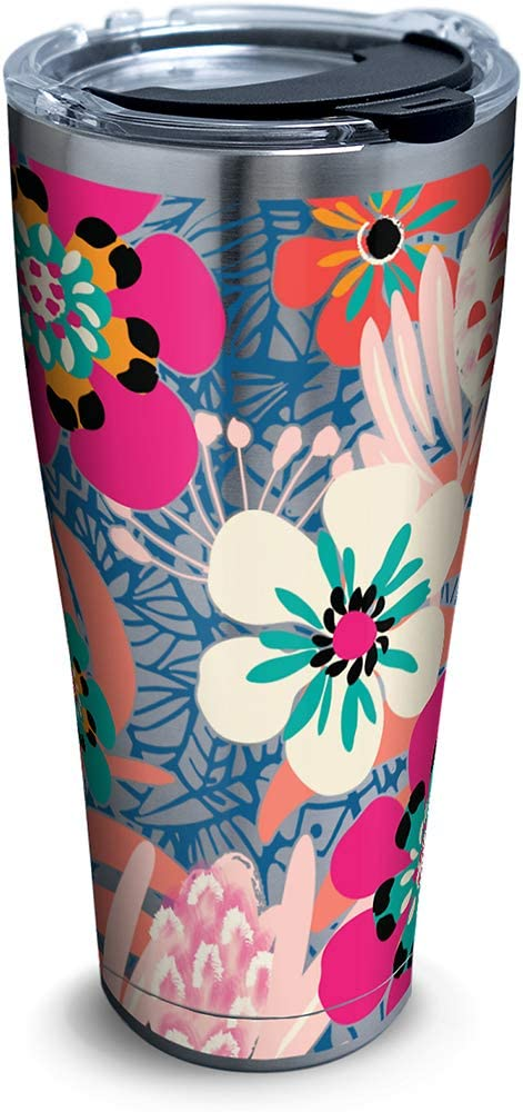 Tervis Bright Wild Blooms Insulated Travel Tumbler with Lid 30 oz - Stainless Steel, Silver
