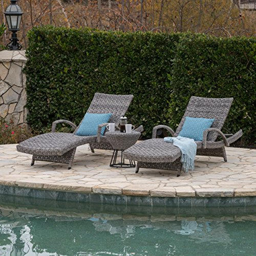 Great Deal Furniture Keira Outdoor 3 Piece Grey Wicker Armed Chaise Lounges with Grey Wicker Circular Side Table