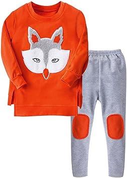 feiXIANG Ropa para niños bebé niño niña Traje Ropa Estampado Zorro suéter de Manga Larga + Traje de Color a Juego: Amazon.es: Electrónica