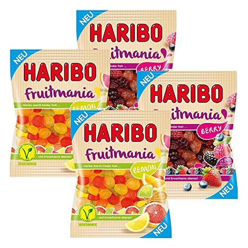 Gummi Fruit Salad - Haribo Fruitmania, Fruit Lemon Beryy with 20% Gummy Gummi Bears - Set of 4 Wine Gum, Fruit Gums, in Pouch