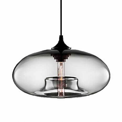 ddc7fcf21b8e Newrays Loft Industrial Hand Crafted Blown Glass Ball Pendant Lights for  Hanging Kitchen Island Lighting Fixtures(Clear) - - Amazon.com