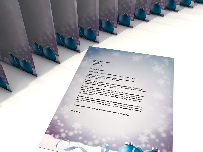 A4 20 Blatt Weihnachtsbriefpapier mit Motiv Weihnachtliches Motivpapier Weihnachtskugeln im Schnee