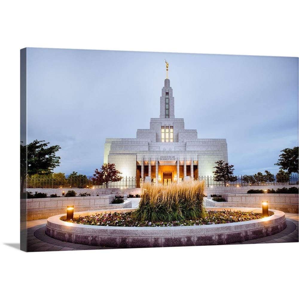 greatBIGcanvas Gallery-Wrapped Canvas Entitled Draper Utah Temple, Lights On, Draper, Utah Scott Jarvie 24''x16''