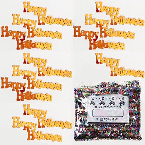 Confetti Word Happy Halloween Orange - One Pound Bag (16 oz) Free Priority Mail --- (b2607) ()