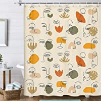Minimalist Aesthetic Shower Curtain, Abstract Face Line Art Simple Terracotta Abstract Face Modern Shower Curtain Set…
