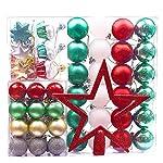 Victor's Workshop 60 Pezzi Palline di Natale Palle di Natale Decorazioni Natalizie (Rosso& Verde& Bianco)