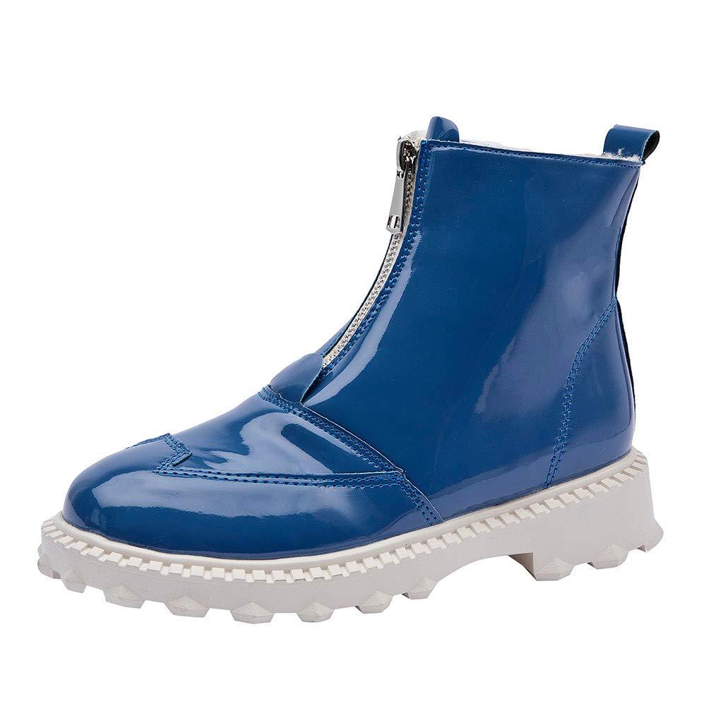 LILIGOD Damenmode Regenstiefel rutschfeste Kurze Stiefel wasserdichte Lederstiefel rutschfeste Stiefeletten mit Reißverschluss Blockabsatz Kurze Stiefel Elegant Damenstiefel