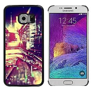 TopCaseStore / la caja del caucho duro de la cubierta de protección de la piel - Reflection Night Lights City Modern - Samsung Galaxy S6 EDGE SM-G925